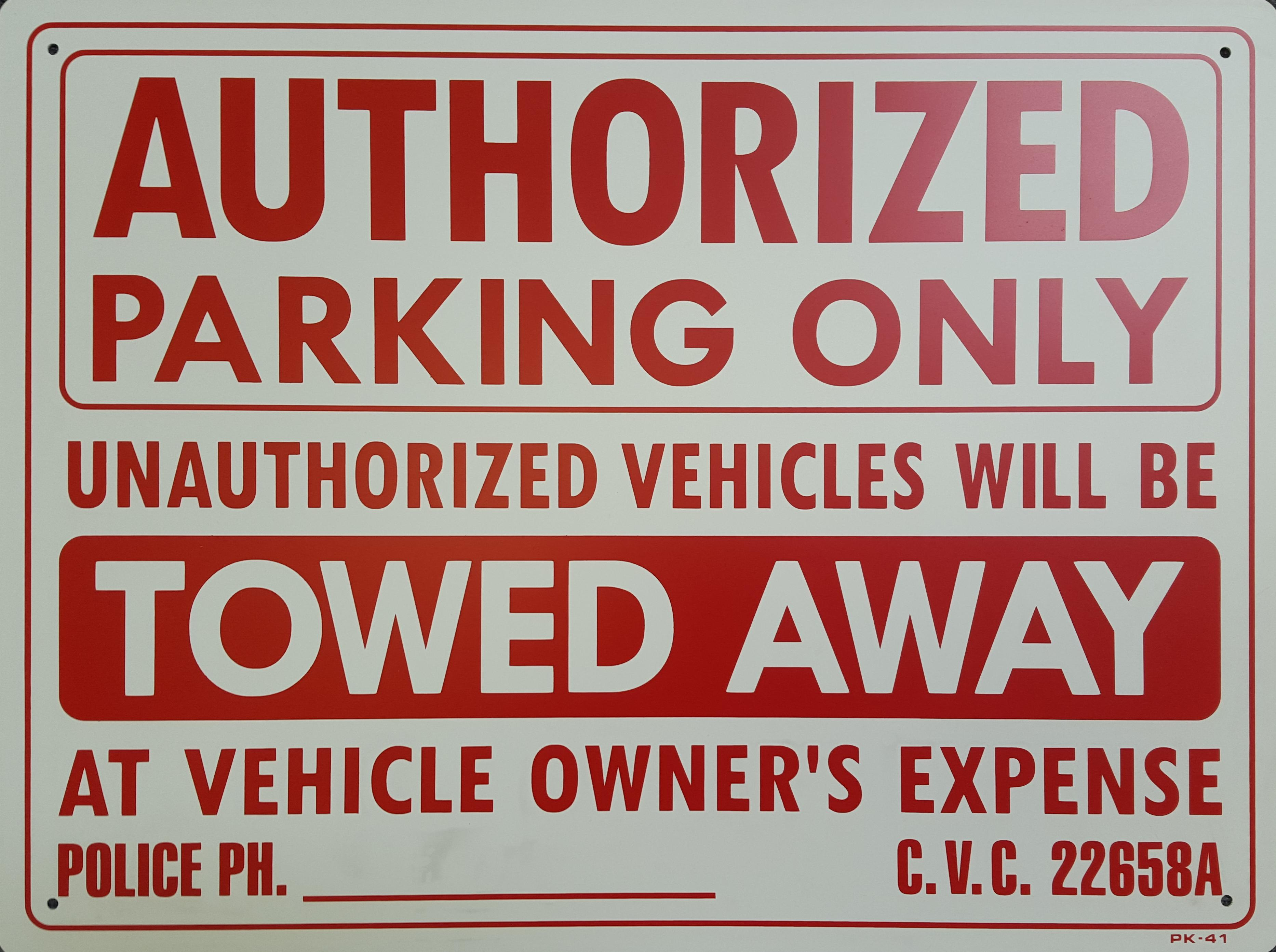 Authorized PArking Only Stock Sign