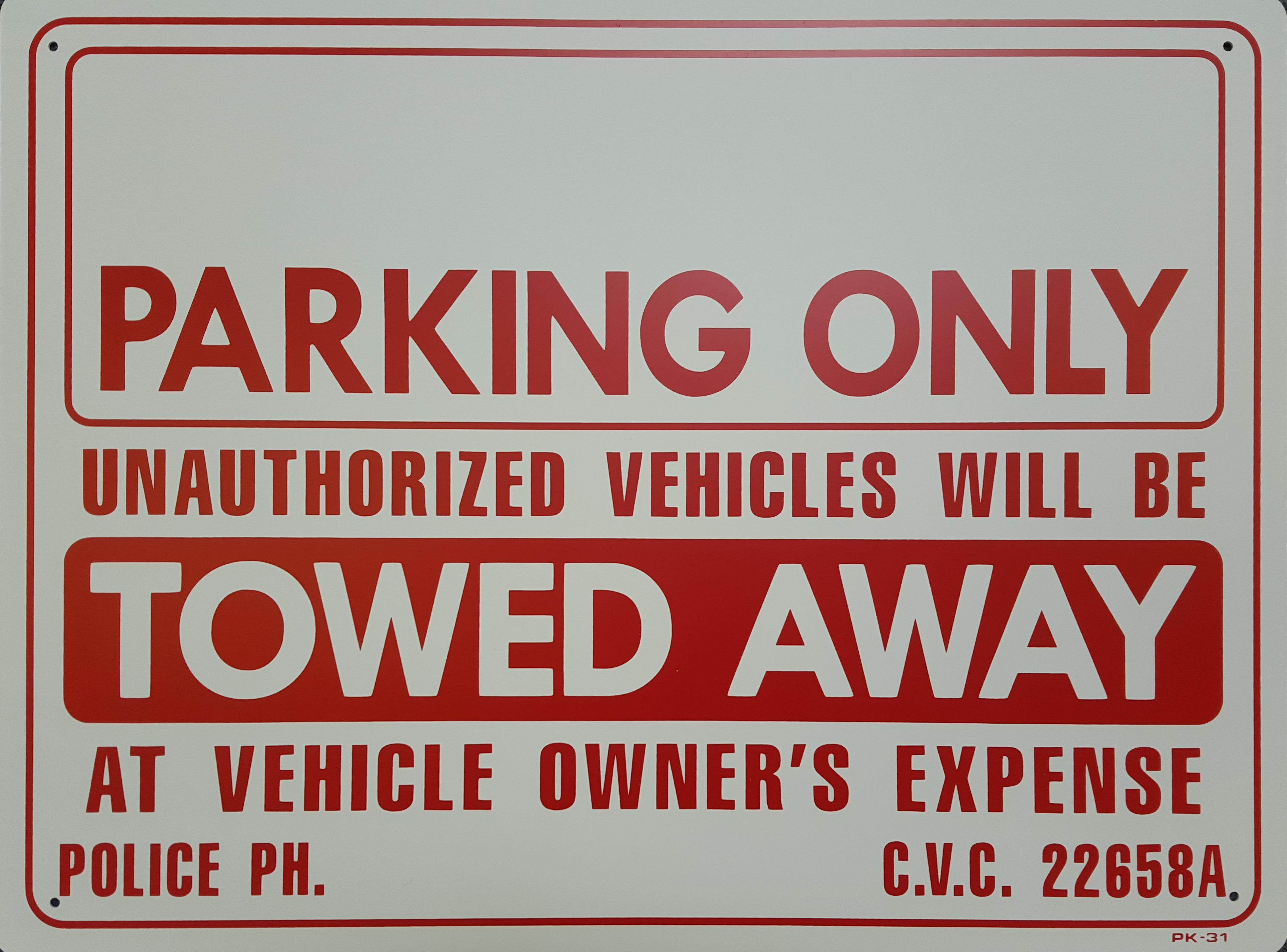 Blank Parking Only Stock Sign