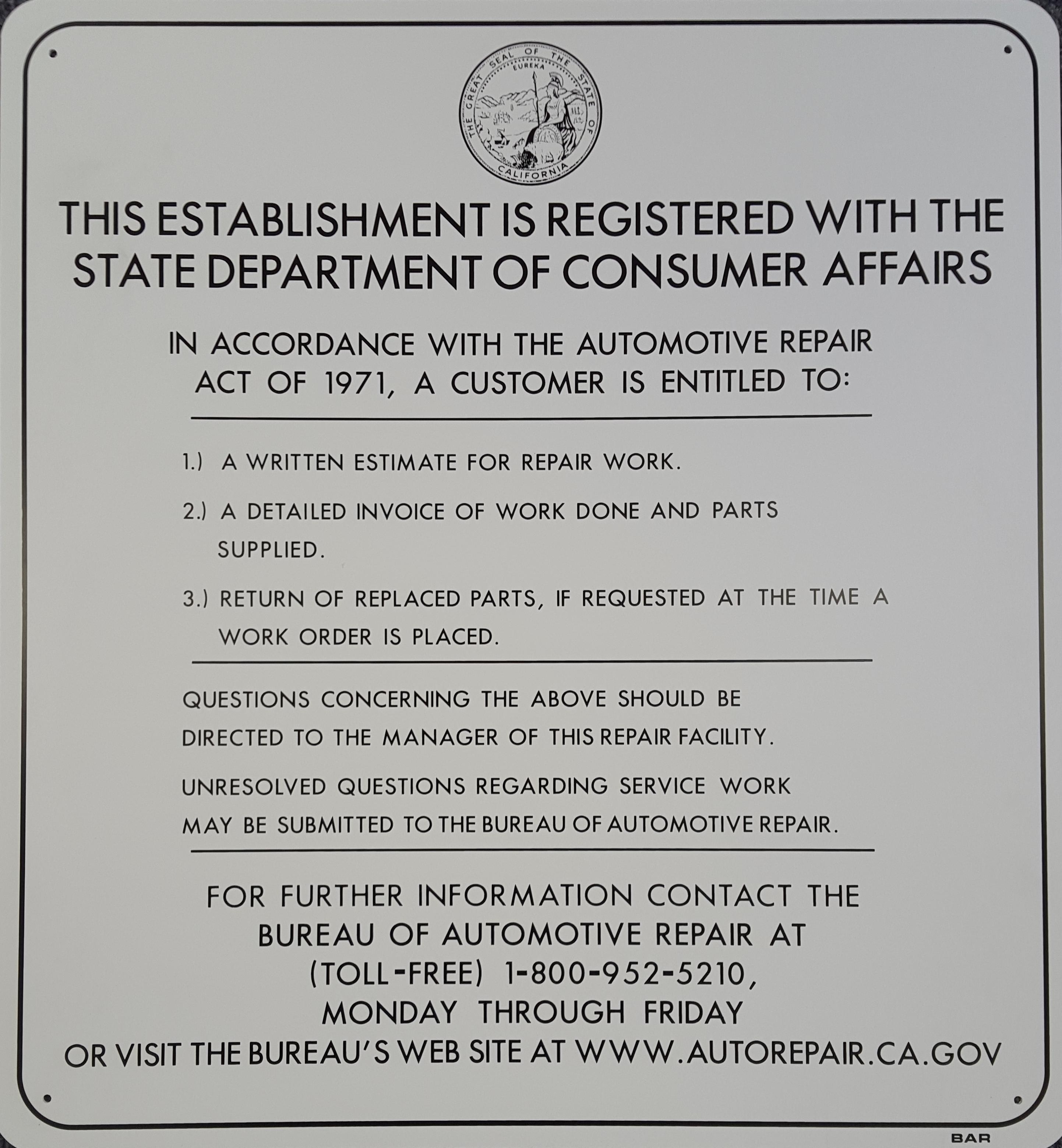 Consumer Affairs Stock Sign