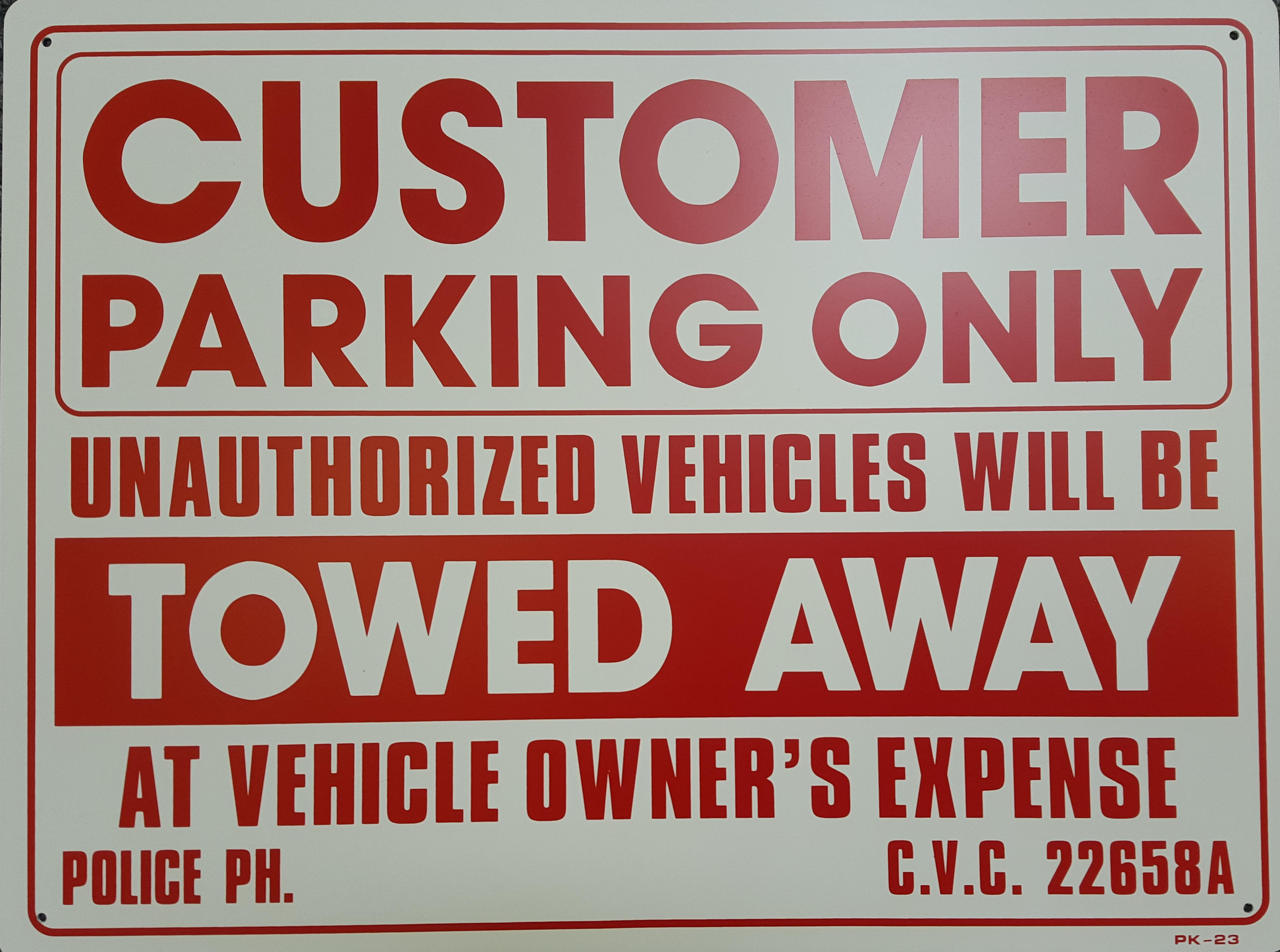 Customer Parking Only Stock Sign