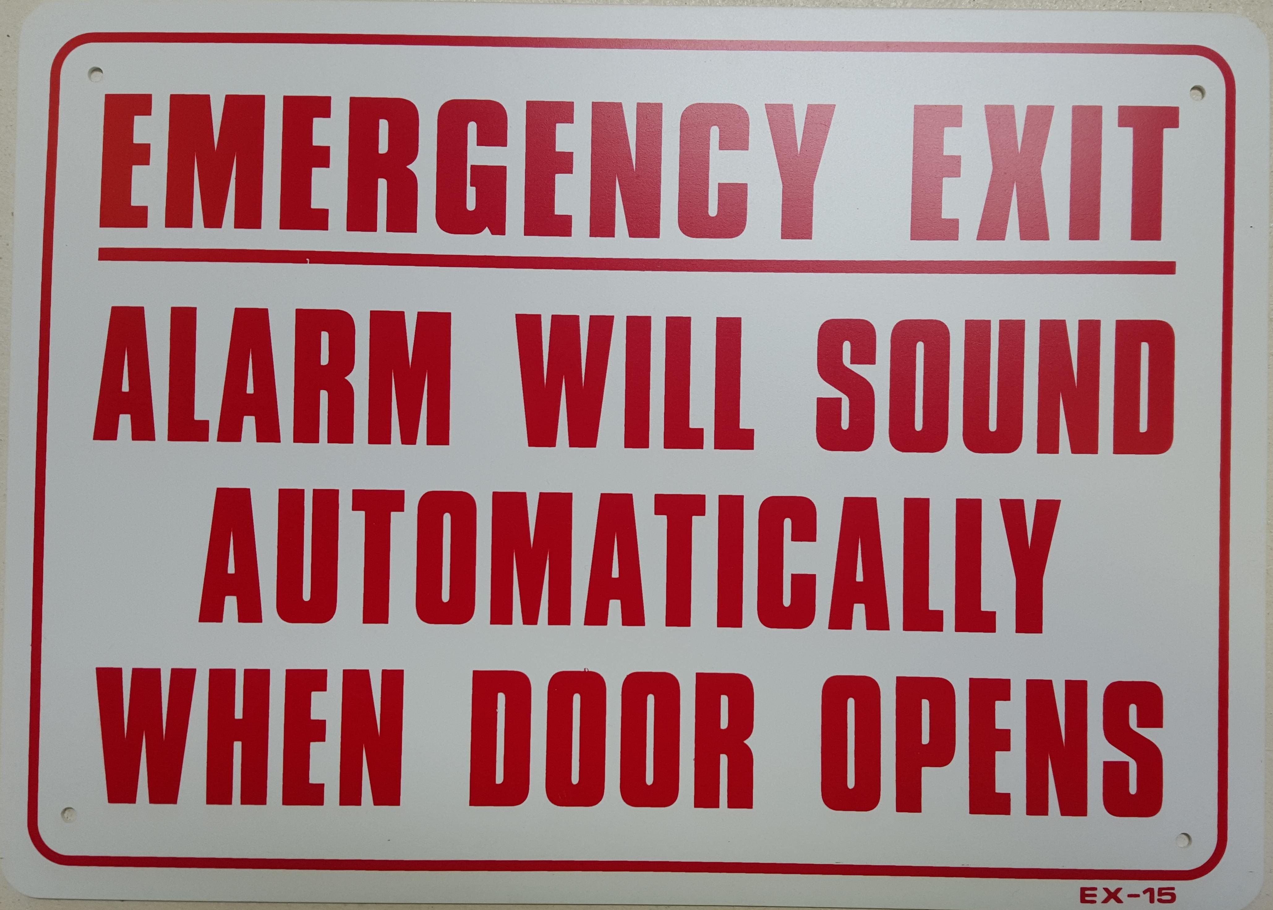 Emergency Exit Alarm Will Sound Stock Sign