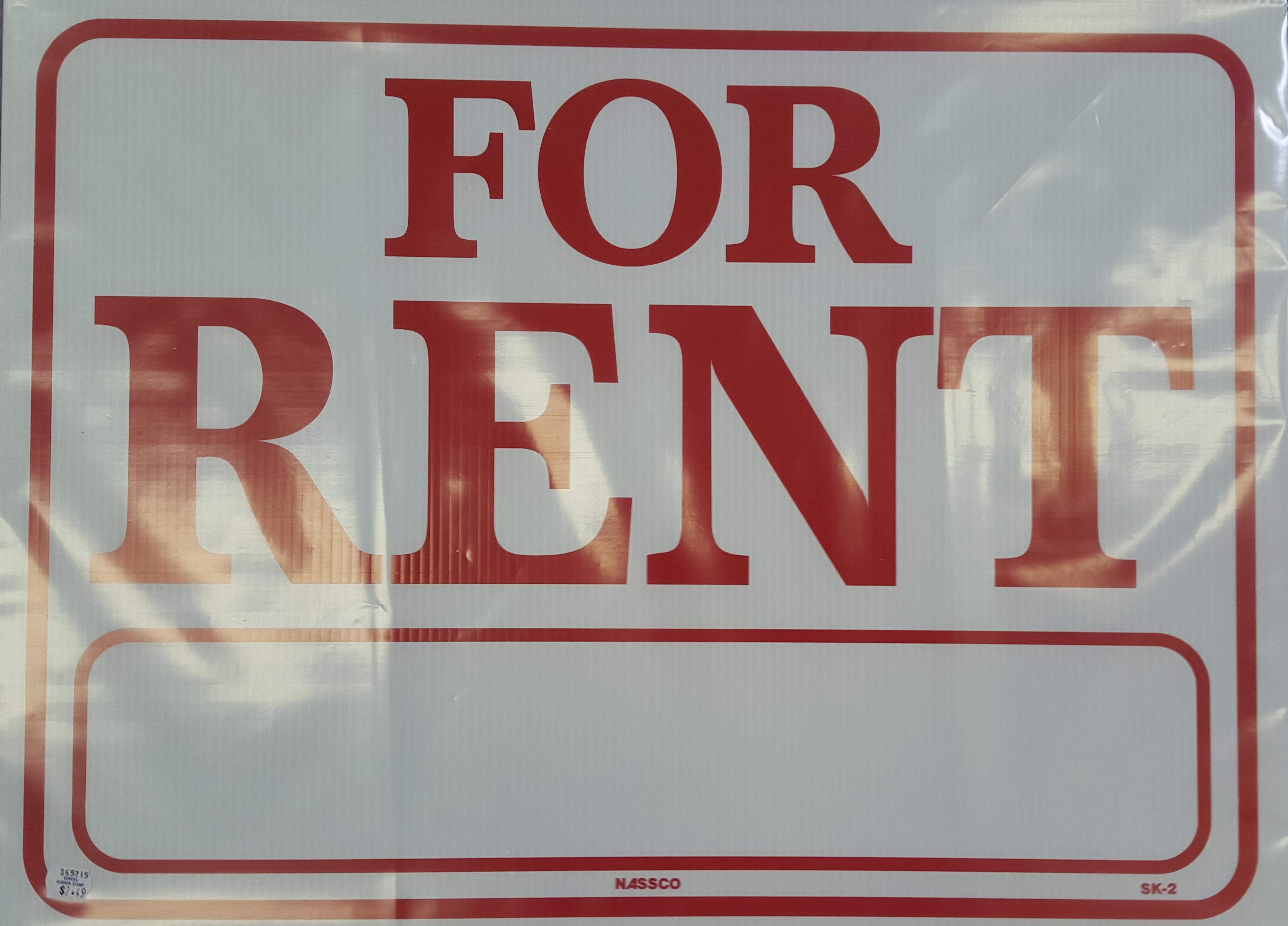 For Rent Red and White Sign