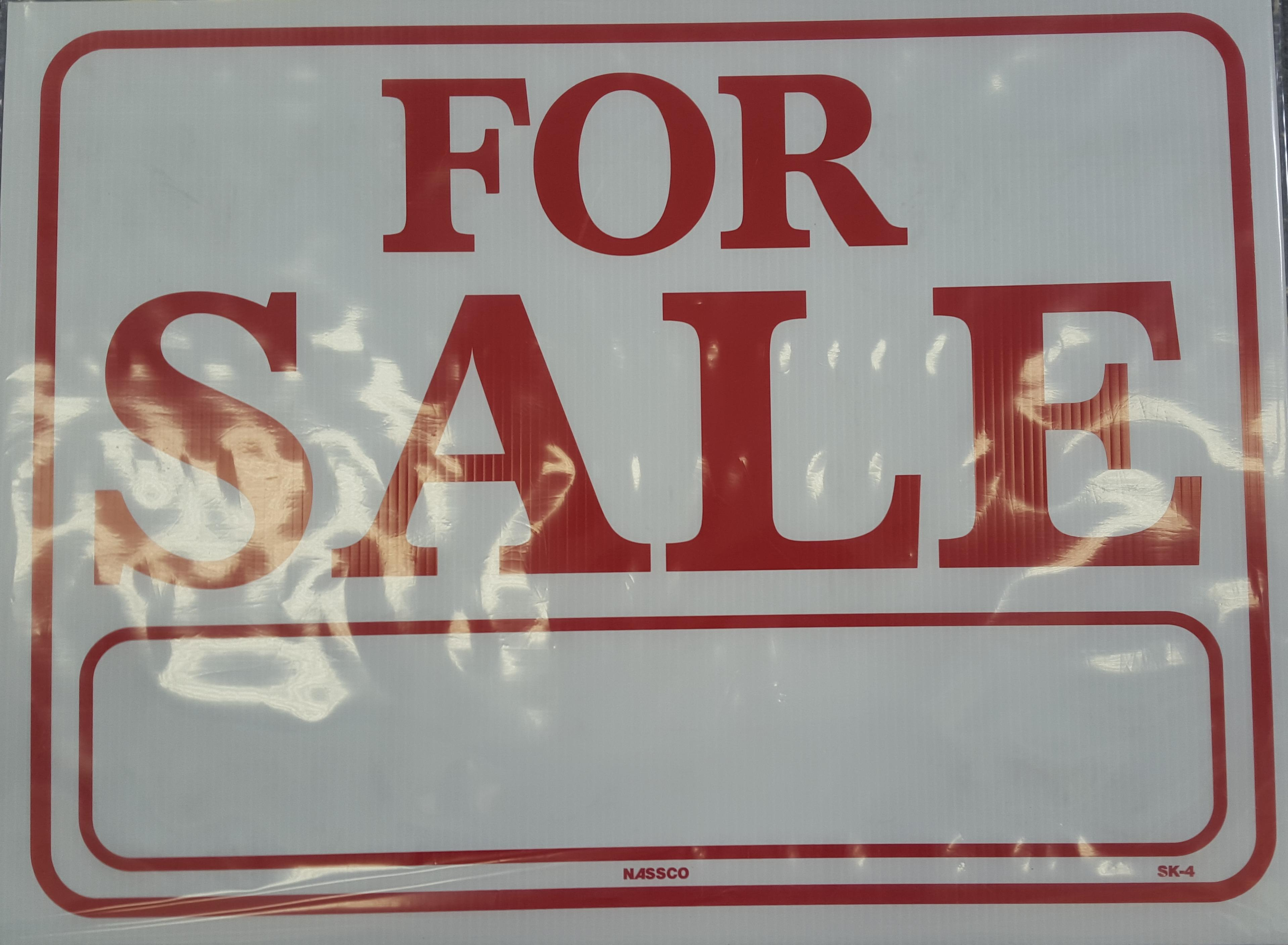 For Sale Red and White Sign