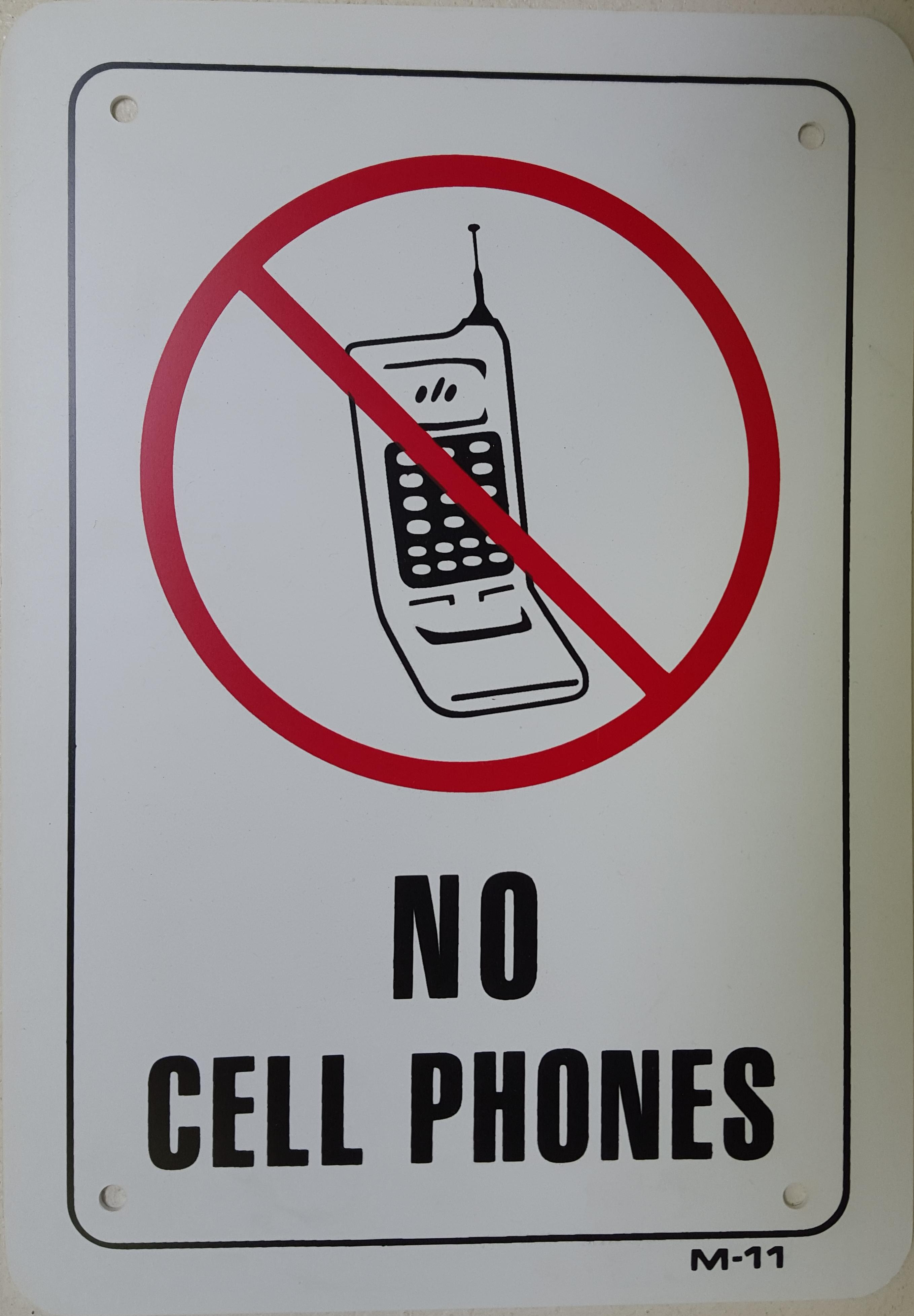 No Cellphones Stock Sign