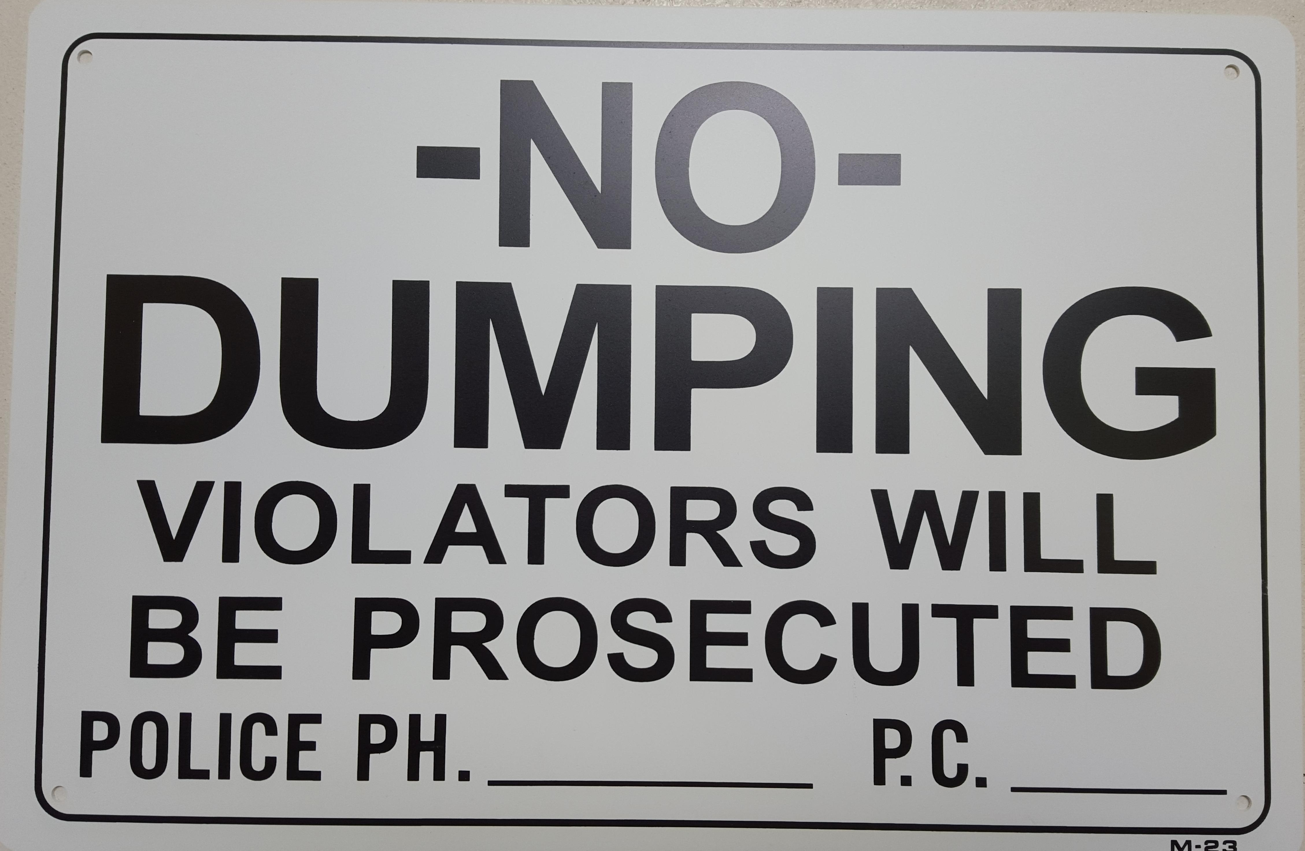 No Dumping Stock Sign