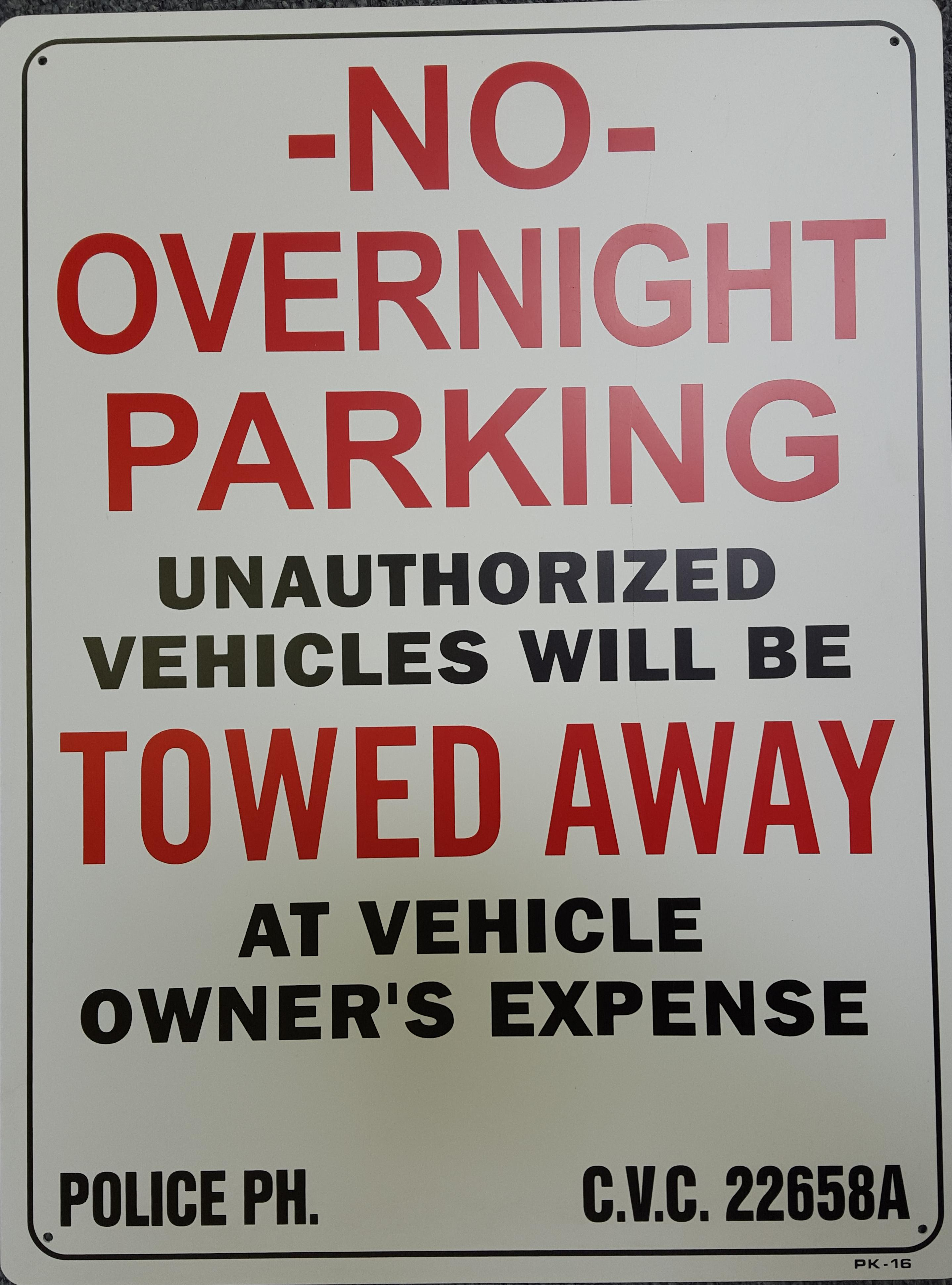 No Overnight Parking Stock Sign