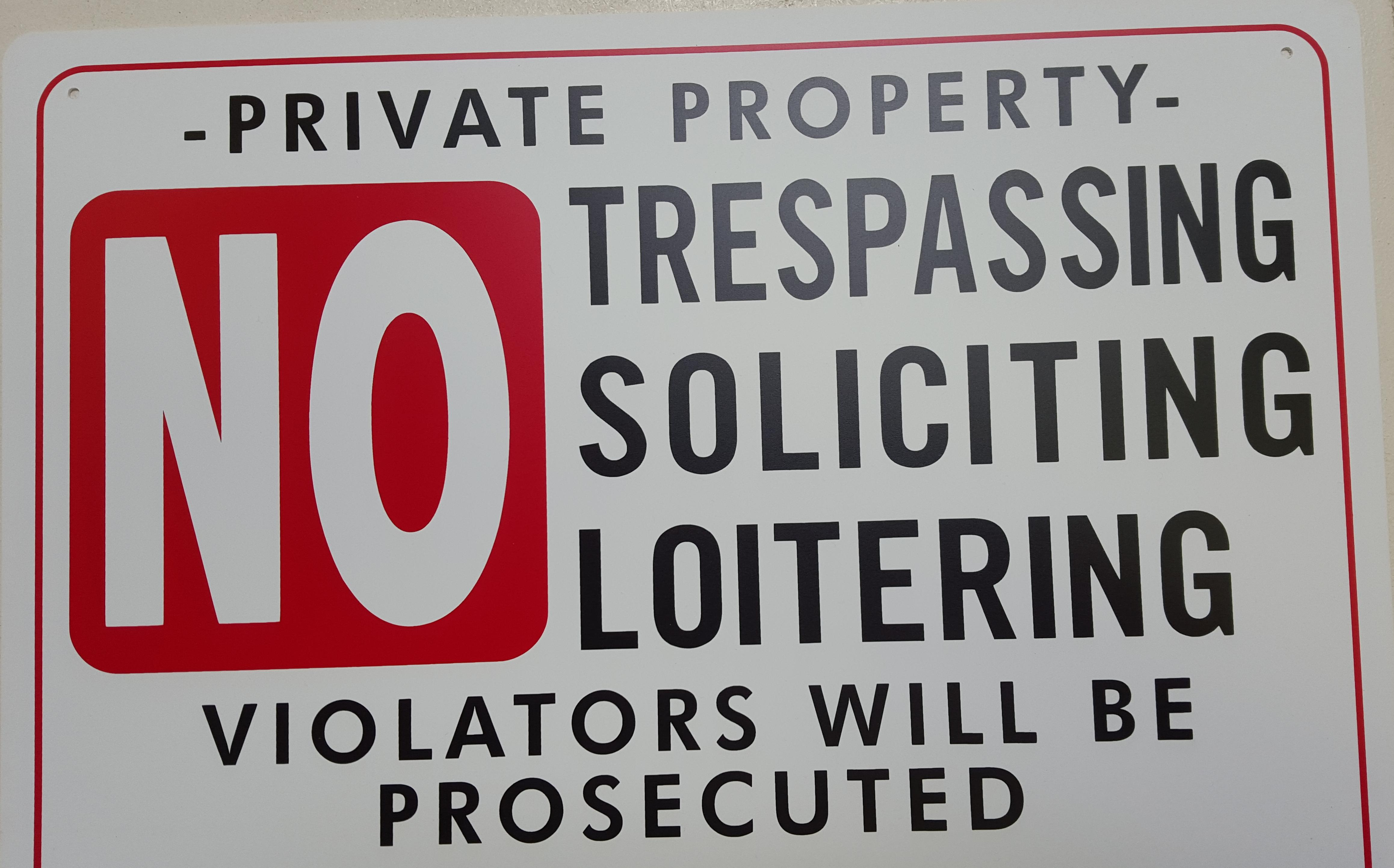 no trespassing signs com no trespassing soliciting etc stock sign