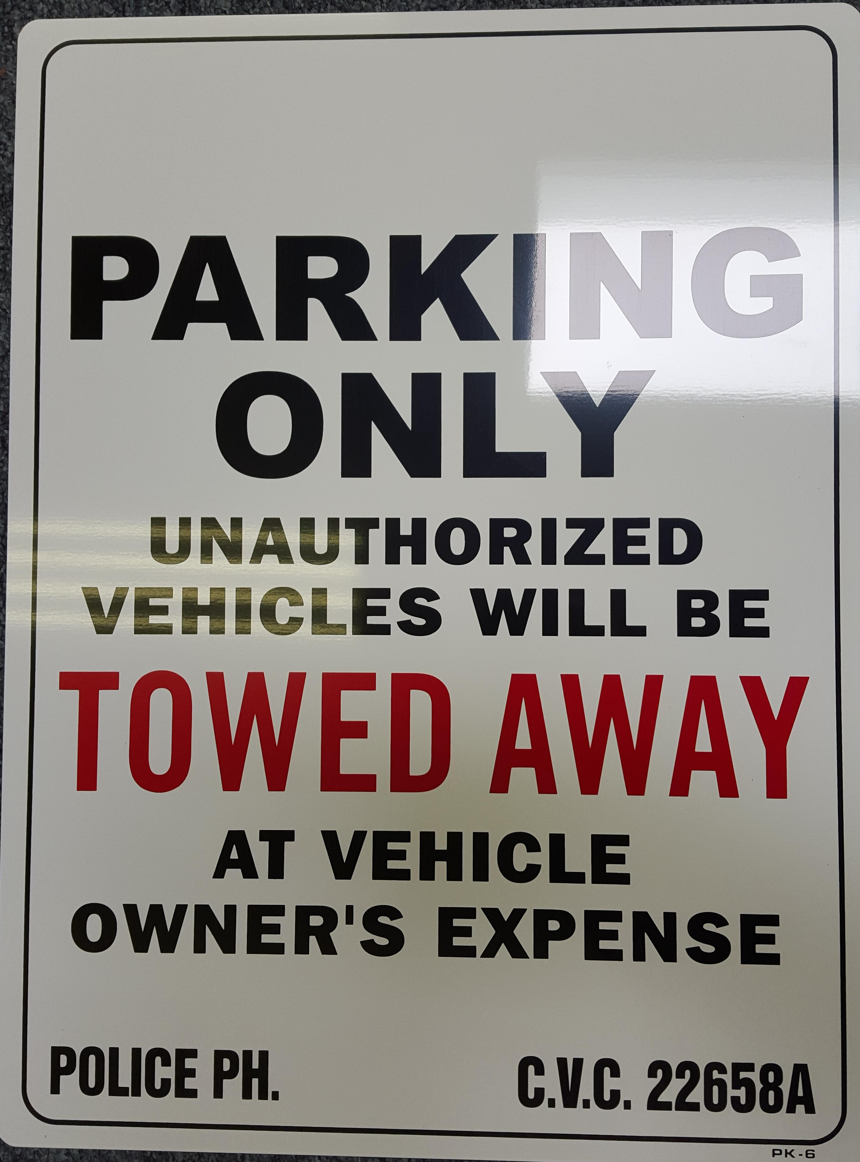Blank Parking Only Towed Away Stock Sign