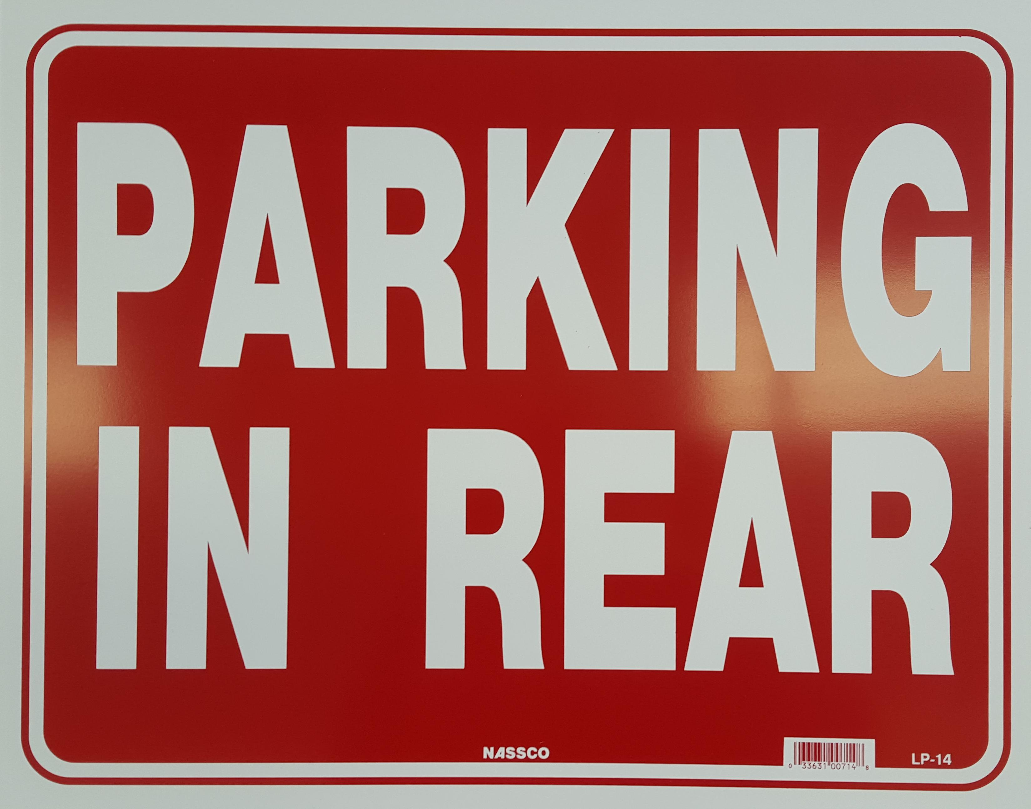 Parking in Rear Stock Sign