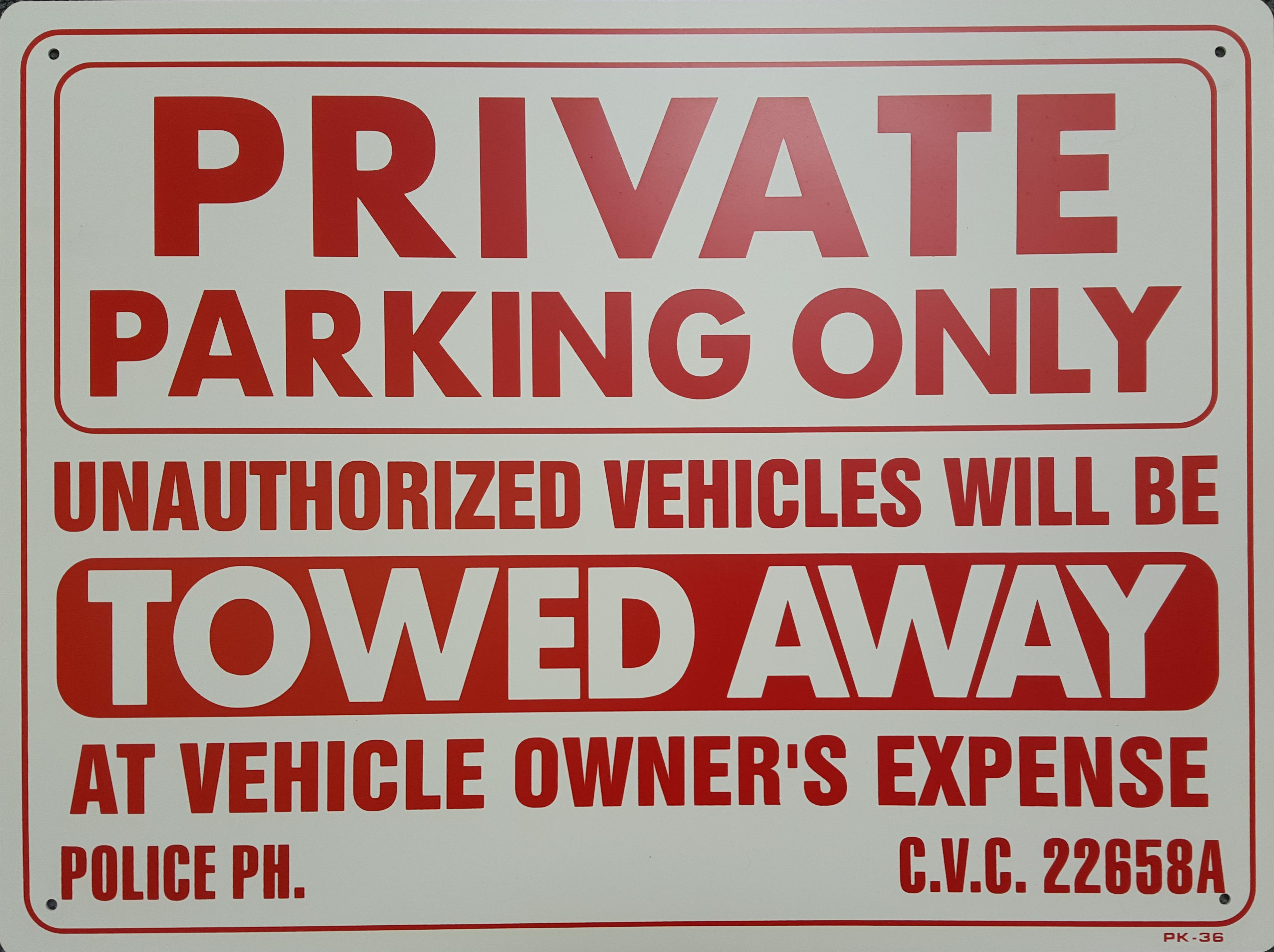 Private Parking Only Stock Sign