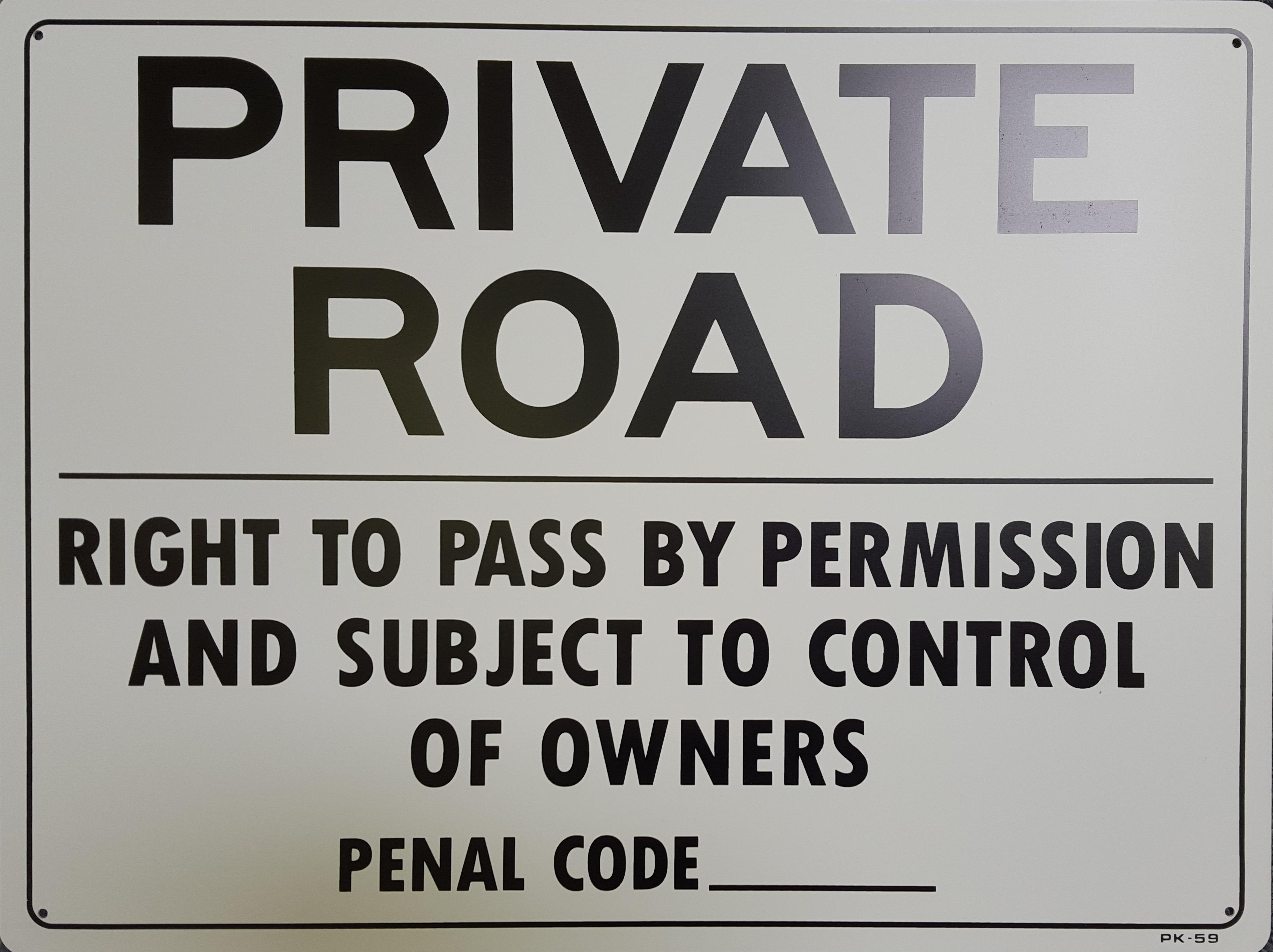 Private Road Stock Sign