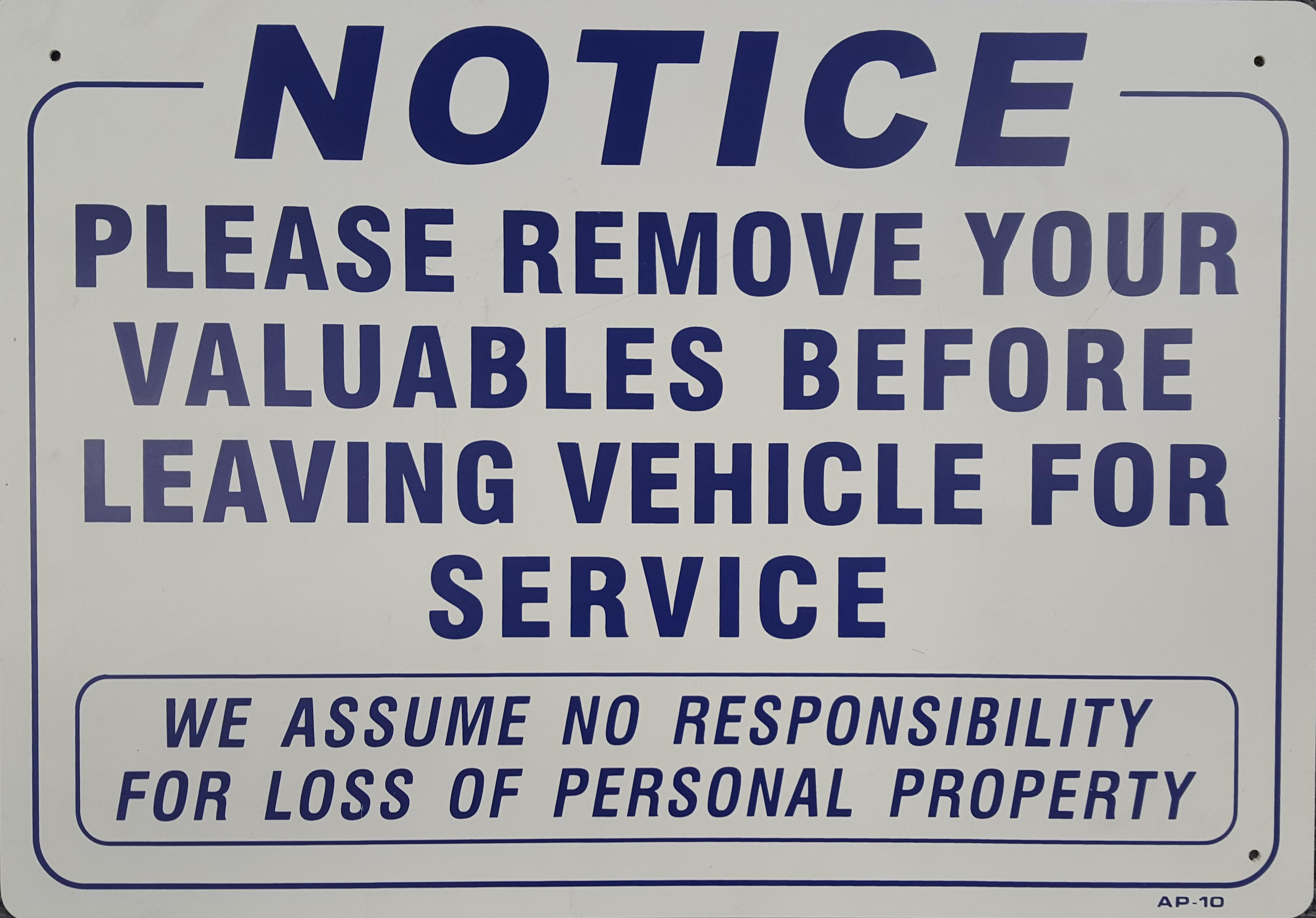 Remove Valuables Stock Sign