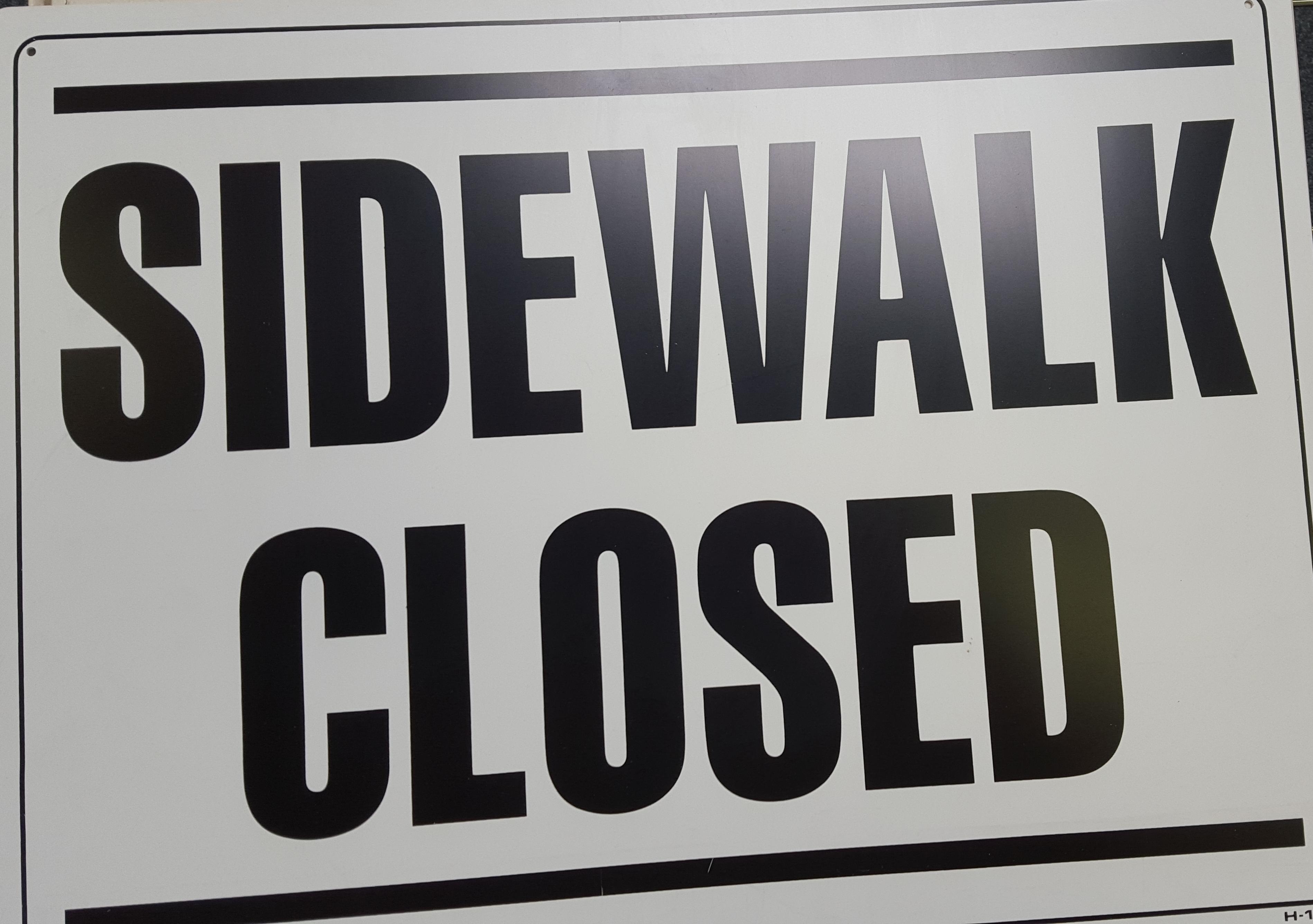 Sidewalk Closed Stock Sign