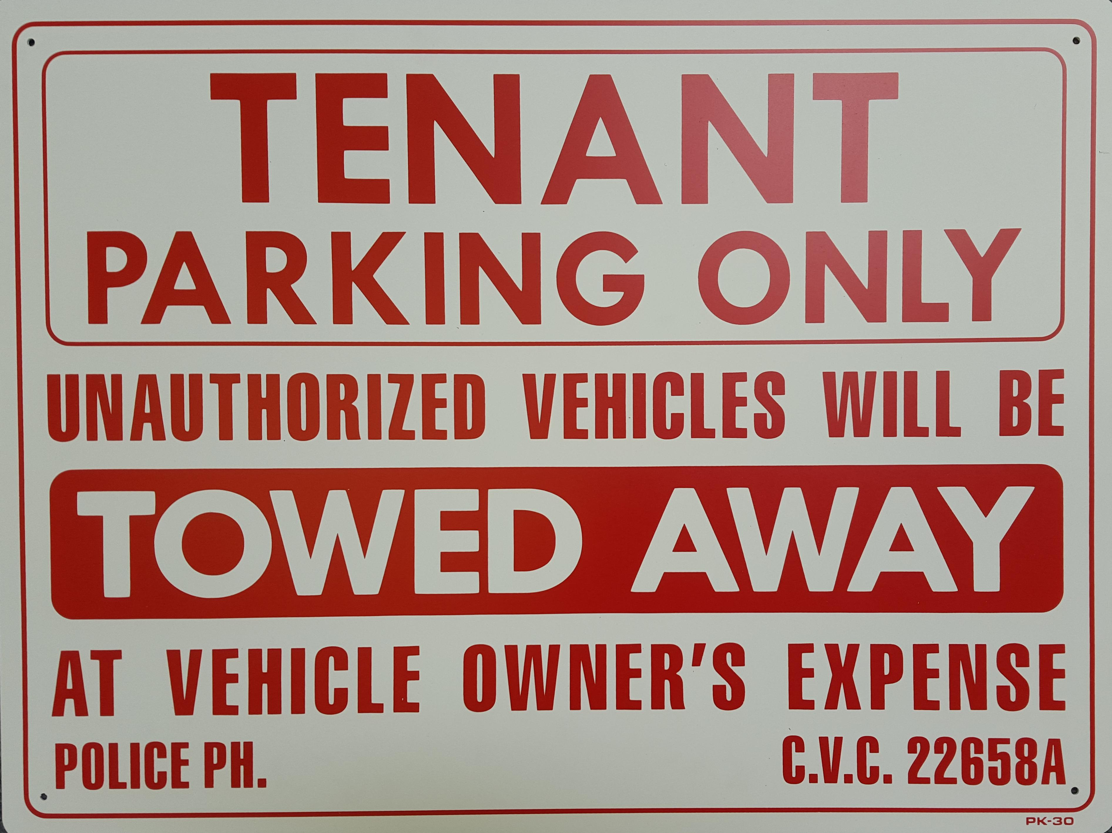 Tenant Parking Only Stock Sign